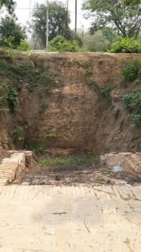 View of the flight of stairs excavated at Wat Tawet
