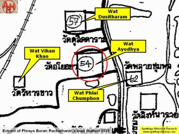 Wat Ayodhya on Phraya Boran Rachathanin's 1926 map