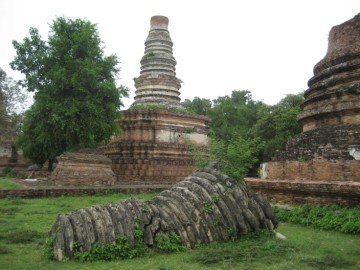 Toppled umbrella of a chedi