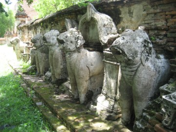 Elephant statues surrounding the chedi