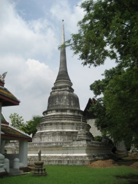 Bell-shaped chedi in between ubosot and vihara